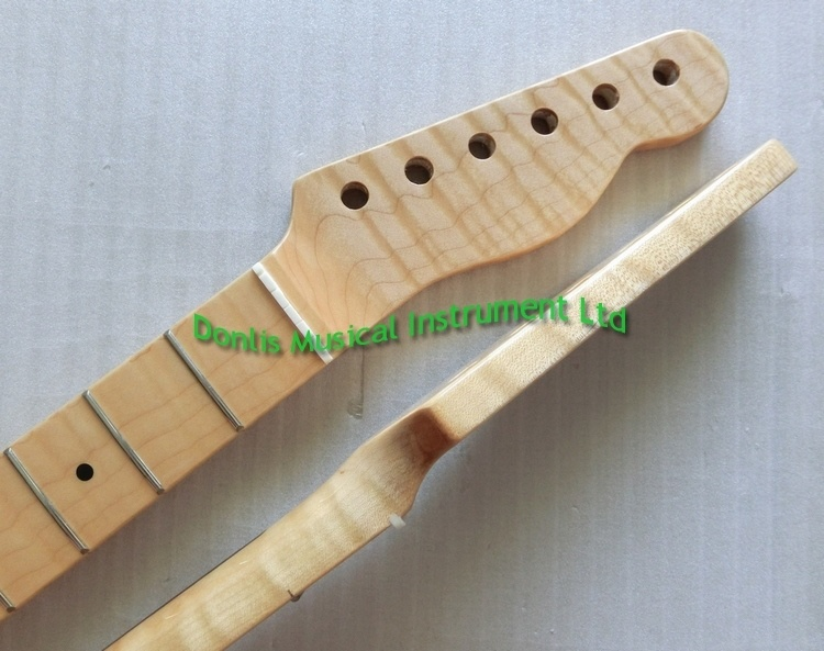 Gloss Finished One Piece Flamed Maple Tele Guitar Neck
