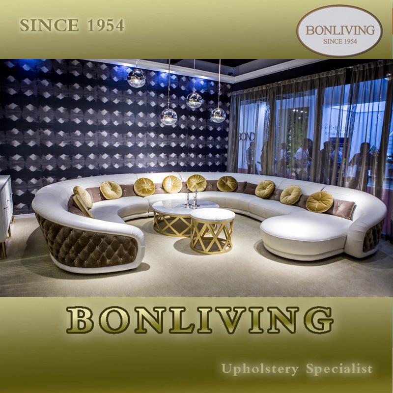 Luxury Italian Style Leather and Fabric Mixed Corner Sofa (B31)