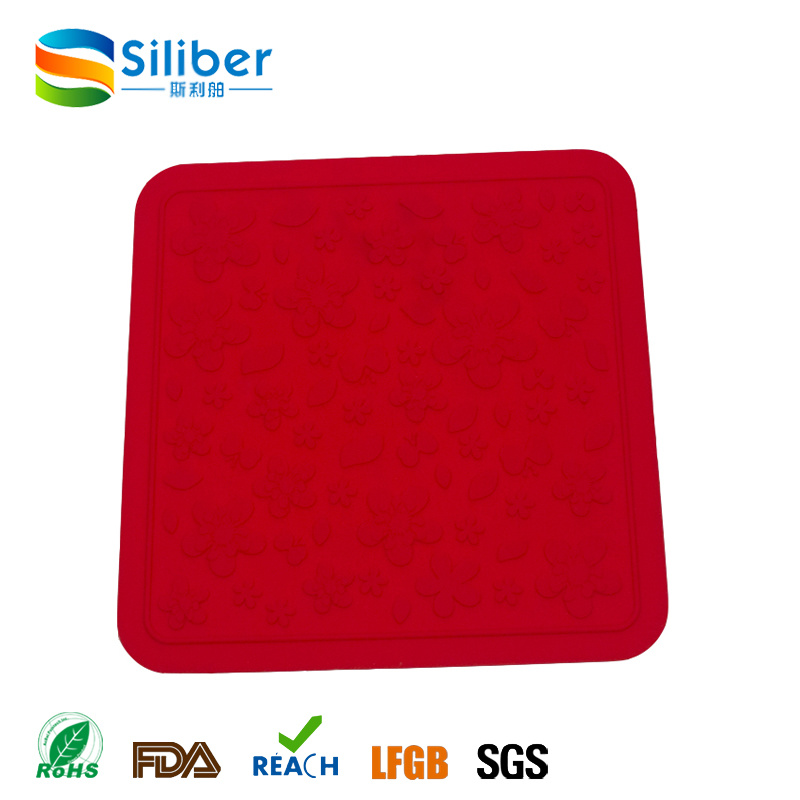 Wholesale Heat Resistant Square Anti-Skidding Washable Silicone Tablemat/Placemat/Coaster