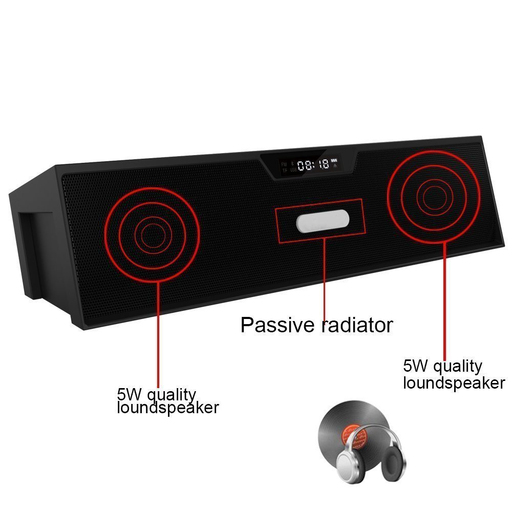 Portable Stereo Bluetooth Speakers with Enhanced Bass Resonator, FM Radio, Built-in Mic, LED Display, Alarm Clock, Support TF Card/Micro SD Speaker