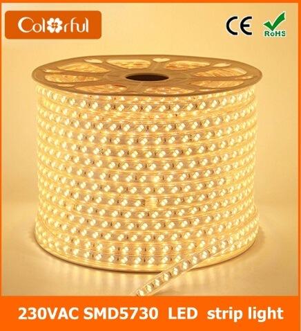Ce RoHS 120LEDs/M AC220V Flexible SMD5730 LED Strip Light