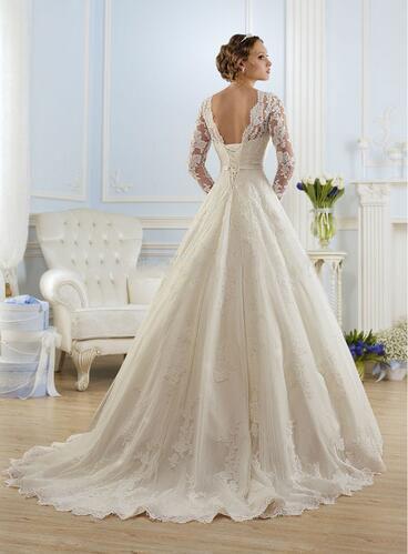 Elegant Lace Belt Long Full Sleeves Bridal Dress