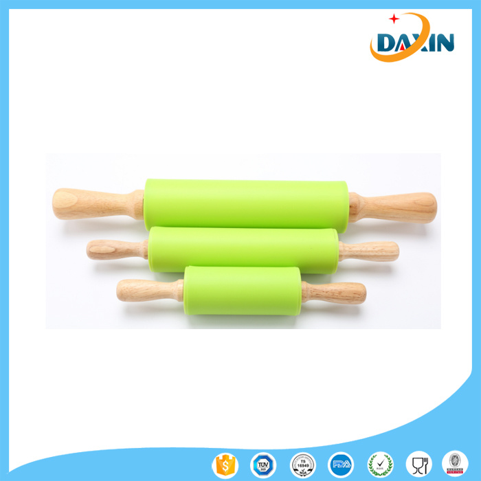 Large Size Non-Stick Eco-Friendly Silicone Rolling Pin with Wooden Handle