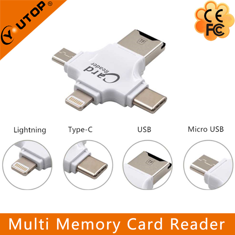 4 in 1 Multi Microsd TF Card Reader for iPhone Lightning + Type-C+Micro USB +USB (YT-R006)