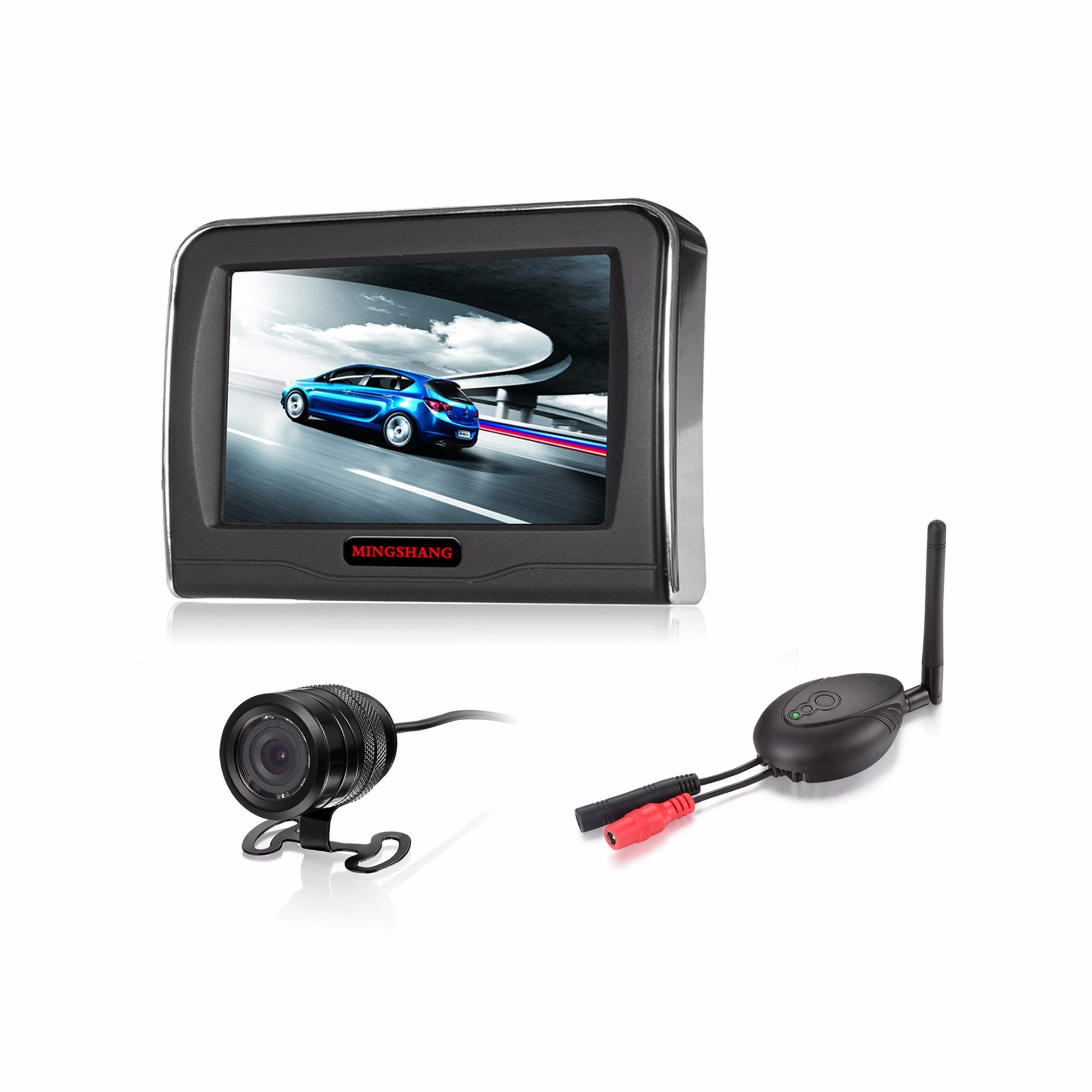 "Wireless Rearview System with 4.3"" LCD Monitor and Waterproof Camera for Car, SUV"