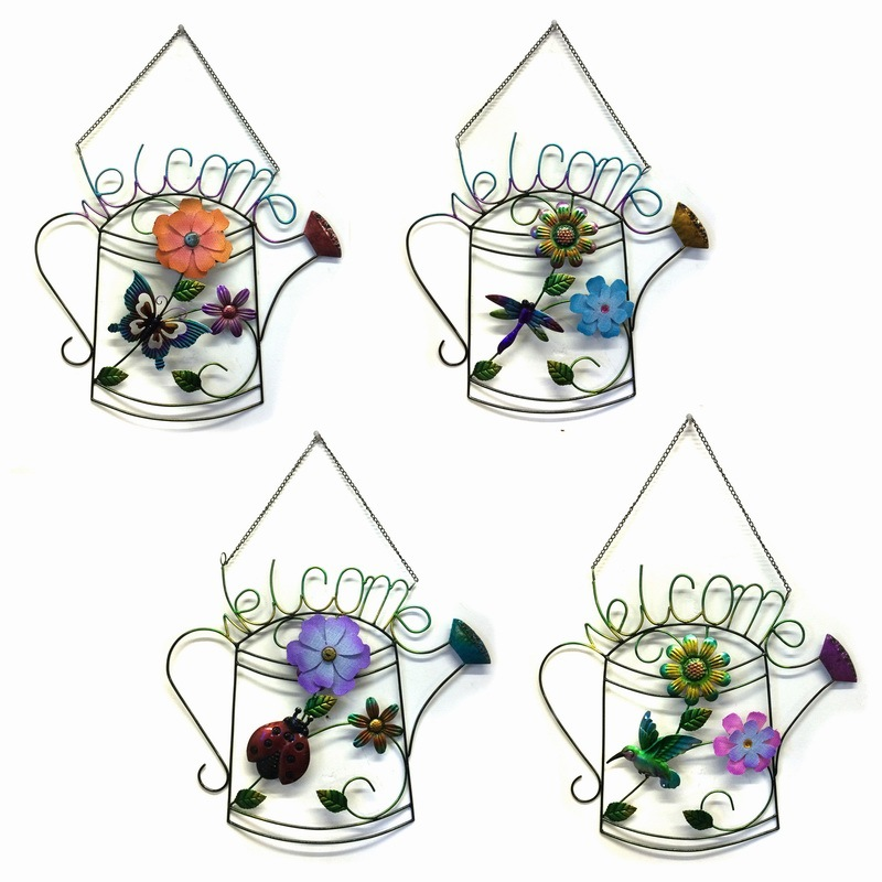 "Metal ""Welcome"" Hanging Garden Craft with Stained Glass"