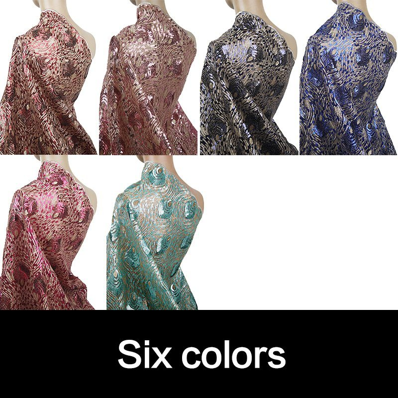 Royal Blue African Sequins Lace Fabric for Party Dress