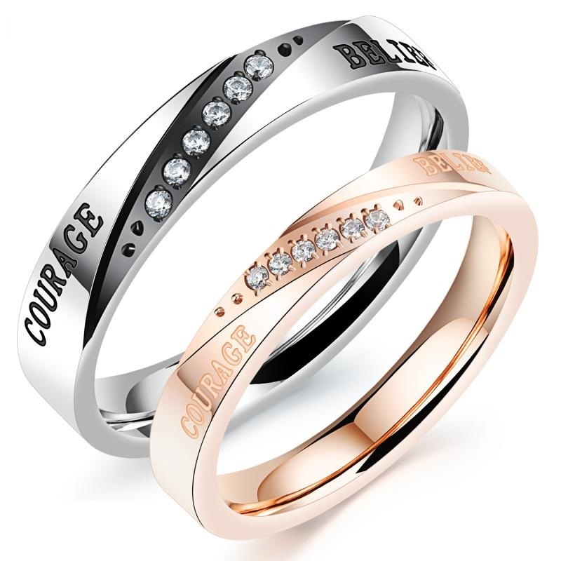 Fashion Rhinestone Crystal Men Women Lover Couple Rings Stainless Steel Jewelry