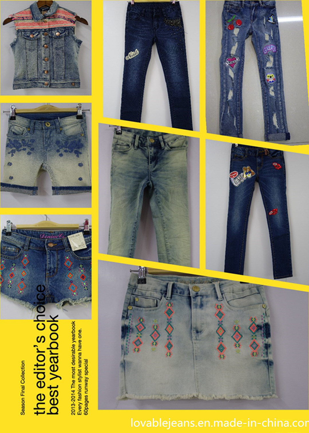 Fresh Blue Distressed Girls′ Jeans (R7)