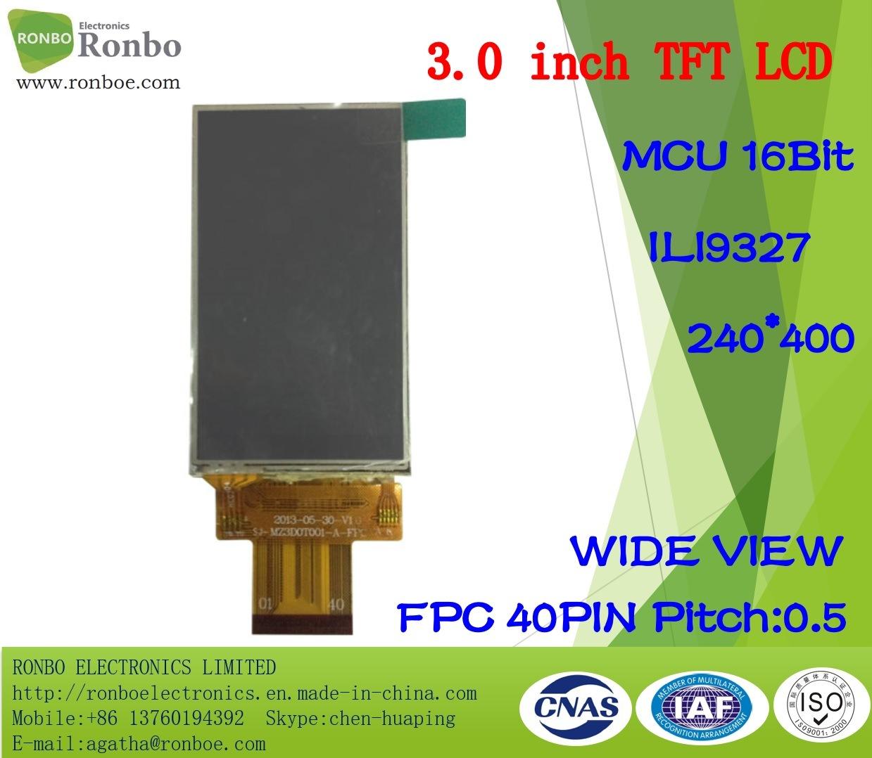 "3.0"" 240*0 MCU 16bit 40pin, Ili9327, TFT LCD Touch Screen"