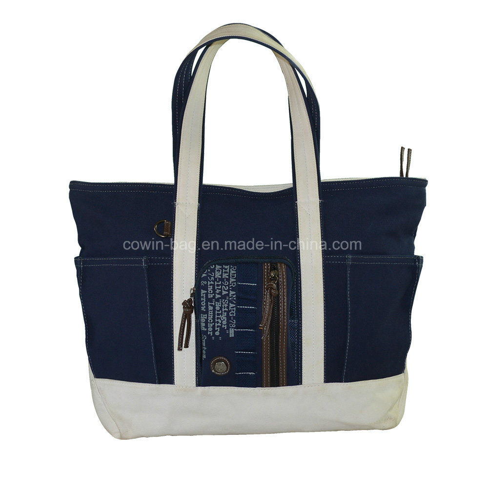 20oz Cotton Canvas Lady Shopping Tote Bag with Leather Trims
