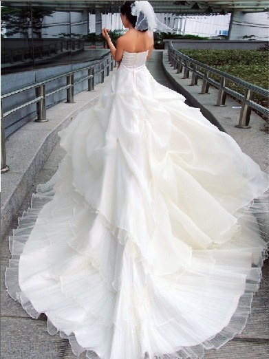 China long train beading bridal wedding dress gown china for Wedding dress long train