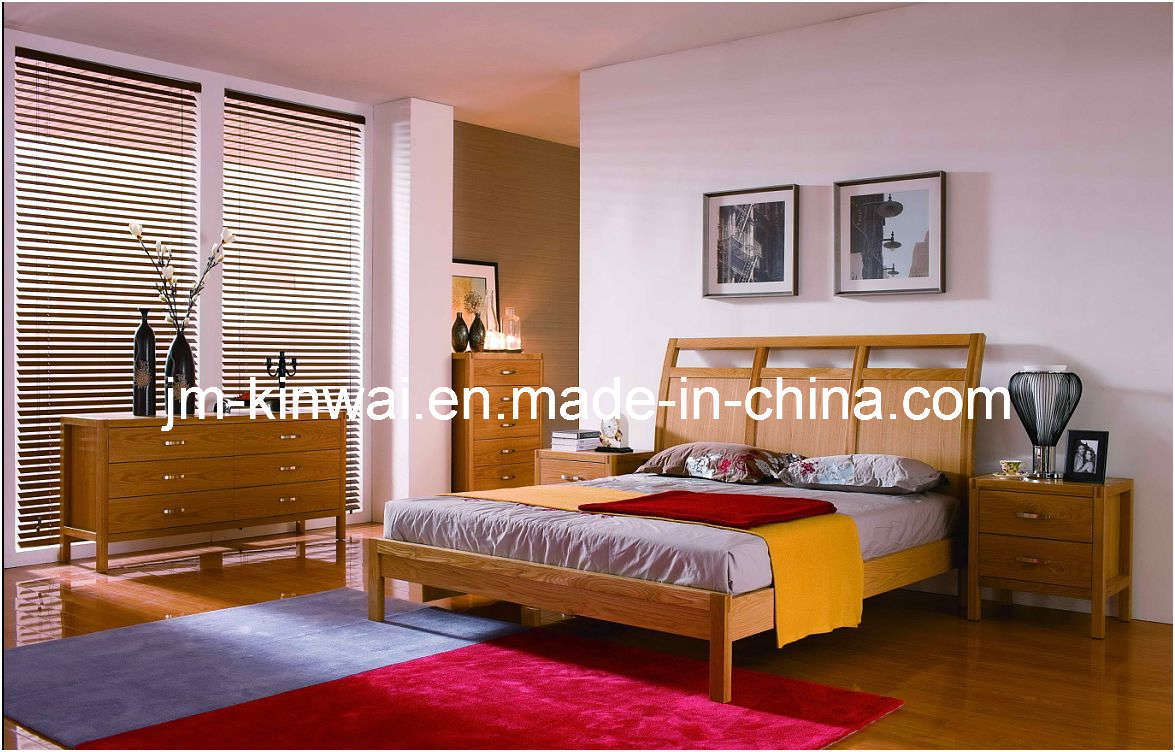 China natural oak bed bedroom furniture solid