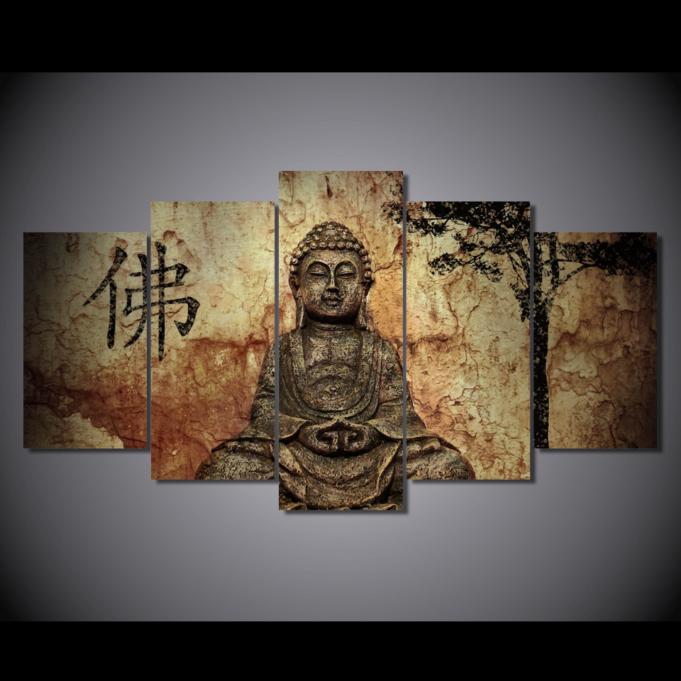 HD Printed Buddha Group Painting on Canvas Room Decoration Print Poster Picture Canvas Framed Mc-013