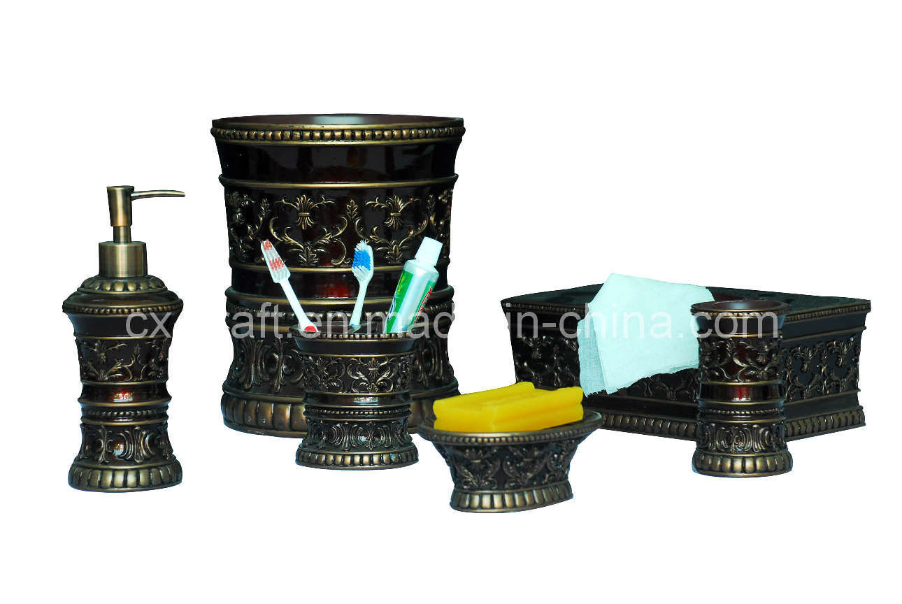 China polyresin bathroom accessory set cx080106 china for Bathroom accessory sets