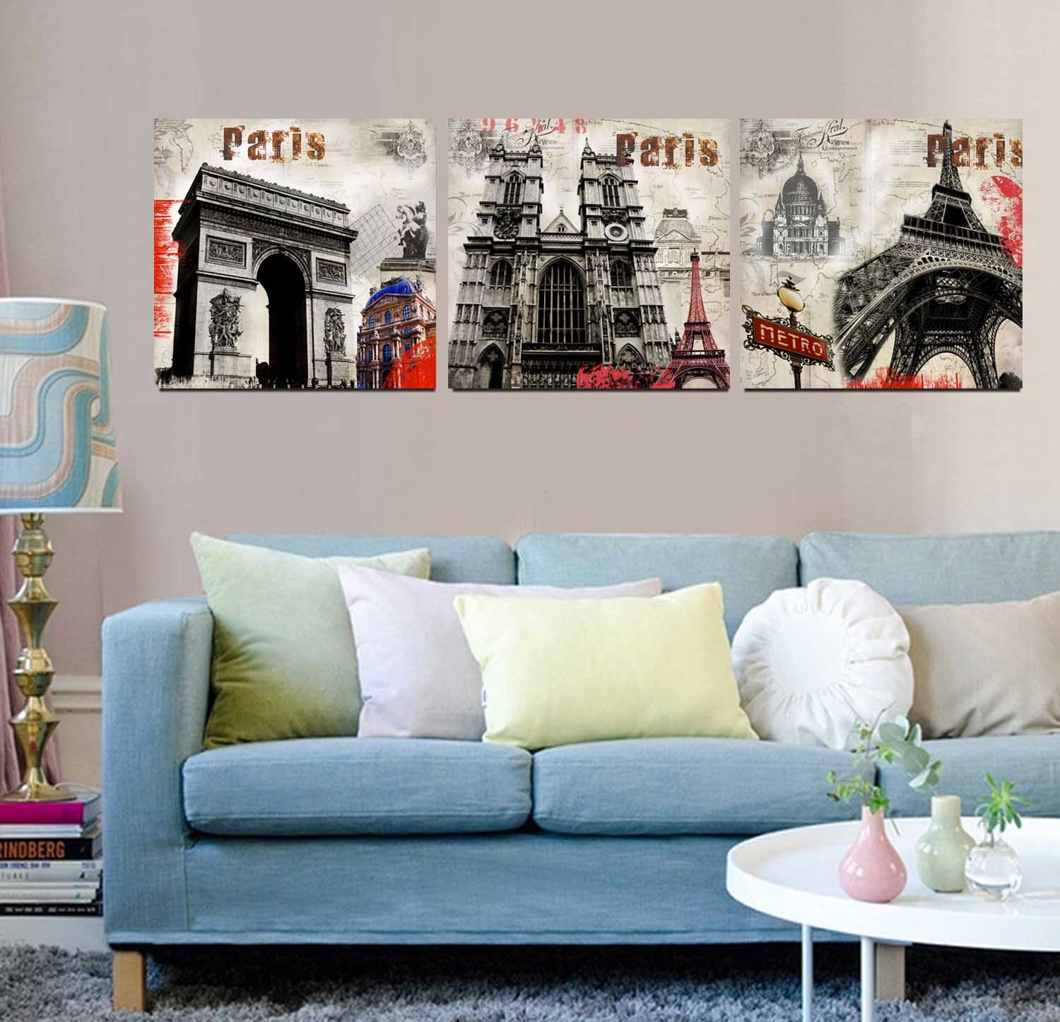3 Panel Wall Art Oil Painting Paris Painting Home Decoration Canvas Prints Pictures for Living Room Framed Art Mc-261