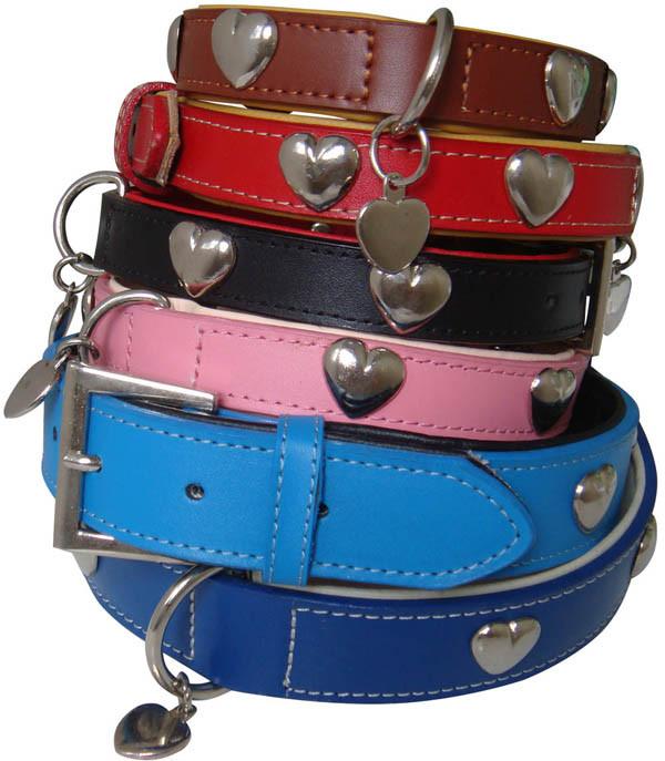 Western Heart Leather Dog Collar