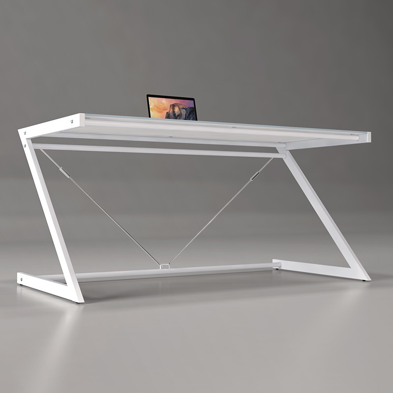 Office Furniture Glass Table with Z-Shaped Metal Base for Home Computer Use