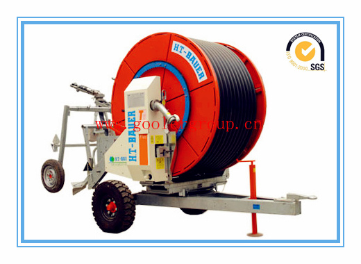 Hose reel irrigation system for watering farm land m