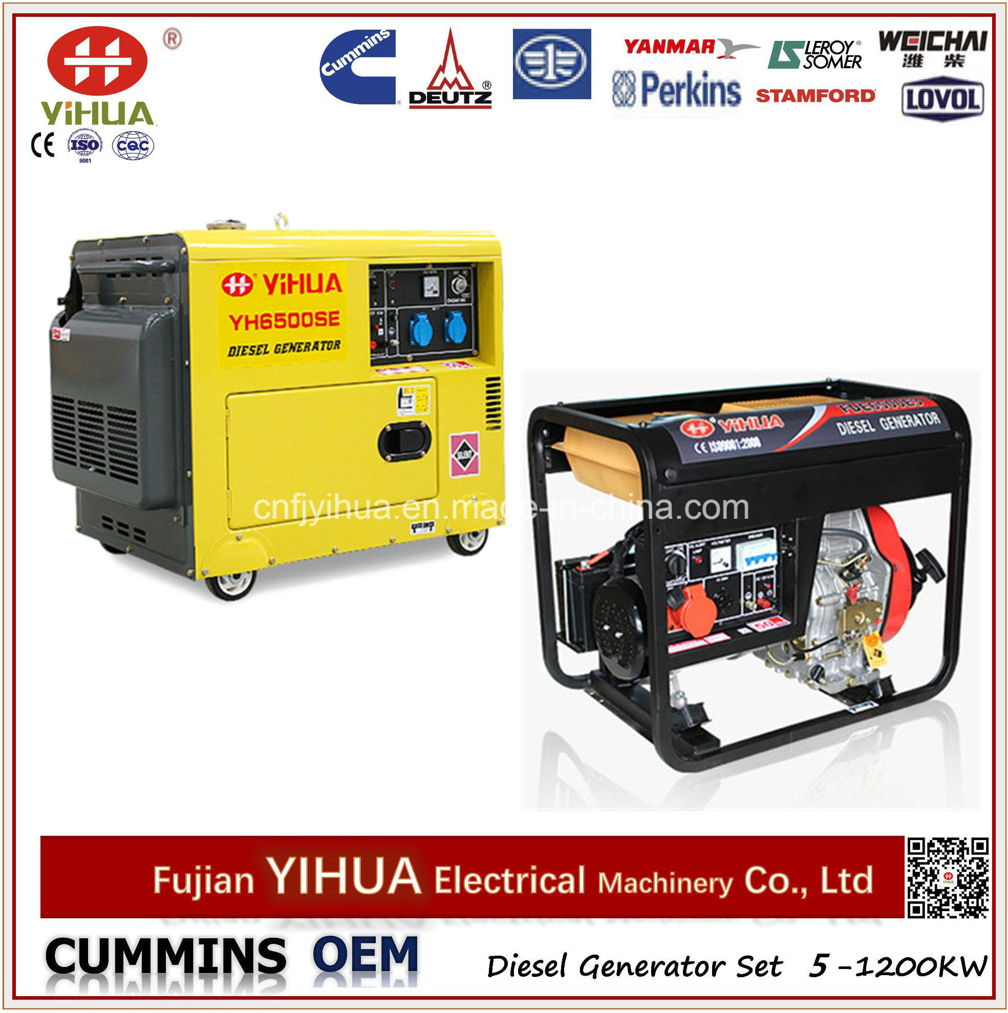 China 5kw 5kVA 6kVA Electric Portable Open Silent Air Cooled