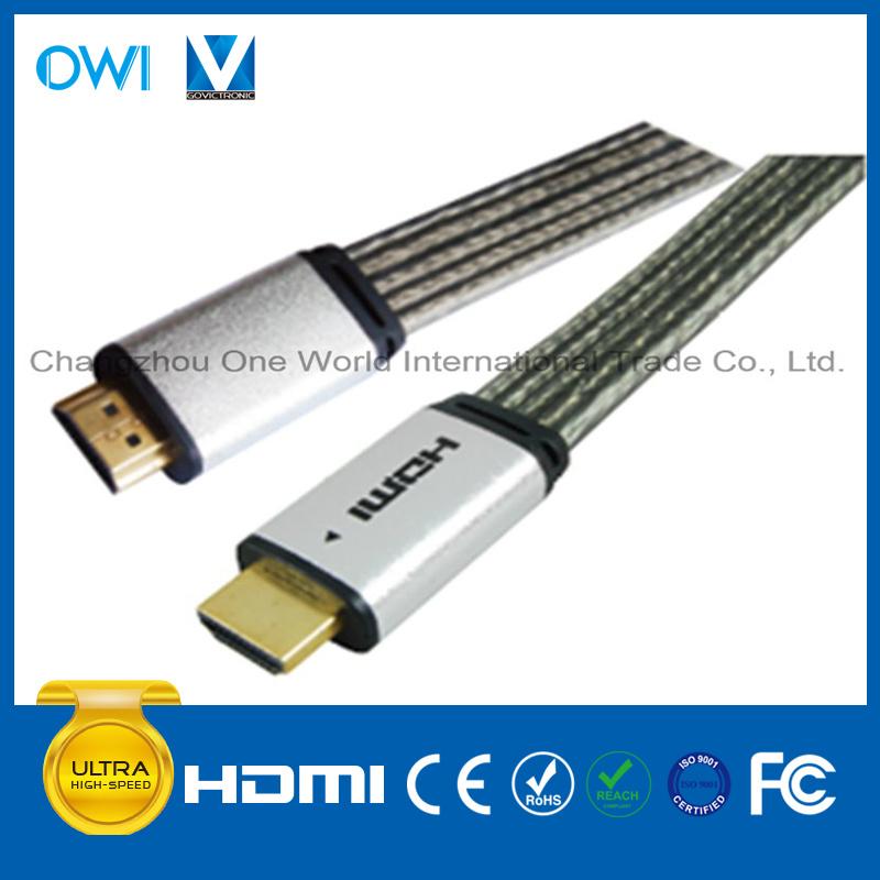 Metal Assembly Flat HDMI 19pin Plug-Plug Cable