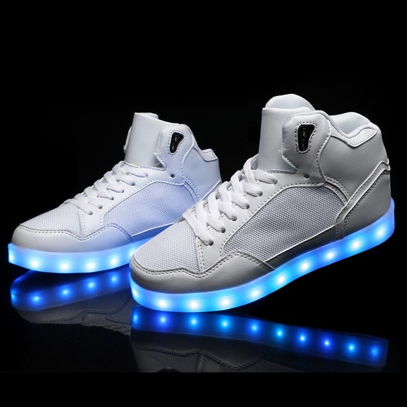Luminous LED Running Shoes with Two Buckles That Lace up High Heel