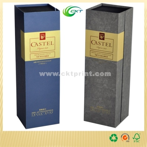 Wine Bottle Gift Packing Box with Foil Stamping and Emboss (CKT- CB-789)