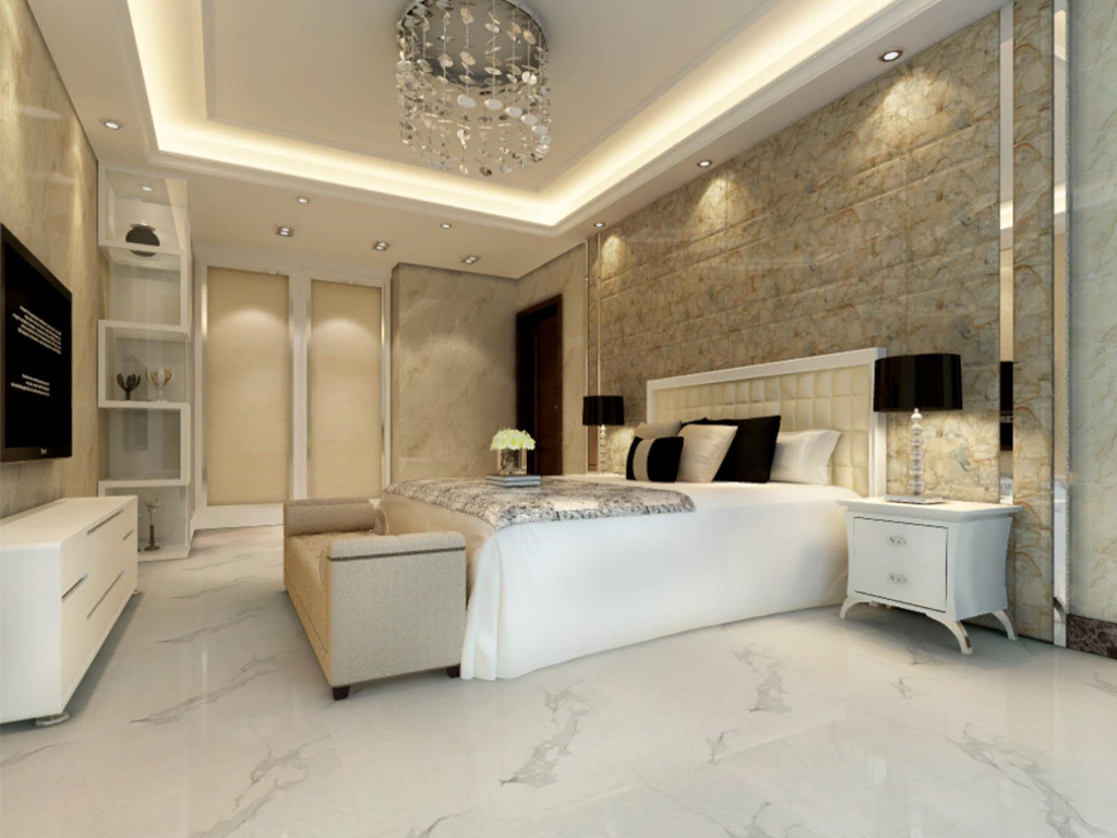 Glossy Polished Porcelain Super Snow White Glazed Floor Tiles
