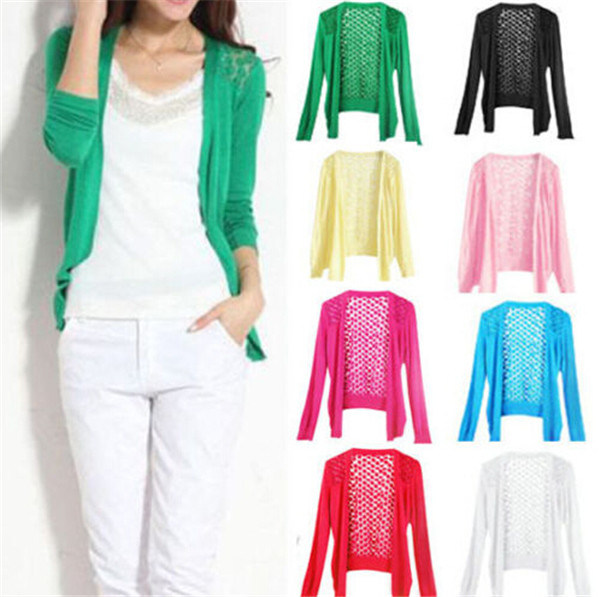 Womens Casual Fashion Long Sleeve Cardigan Hollow Knitwear