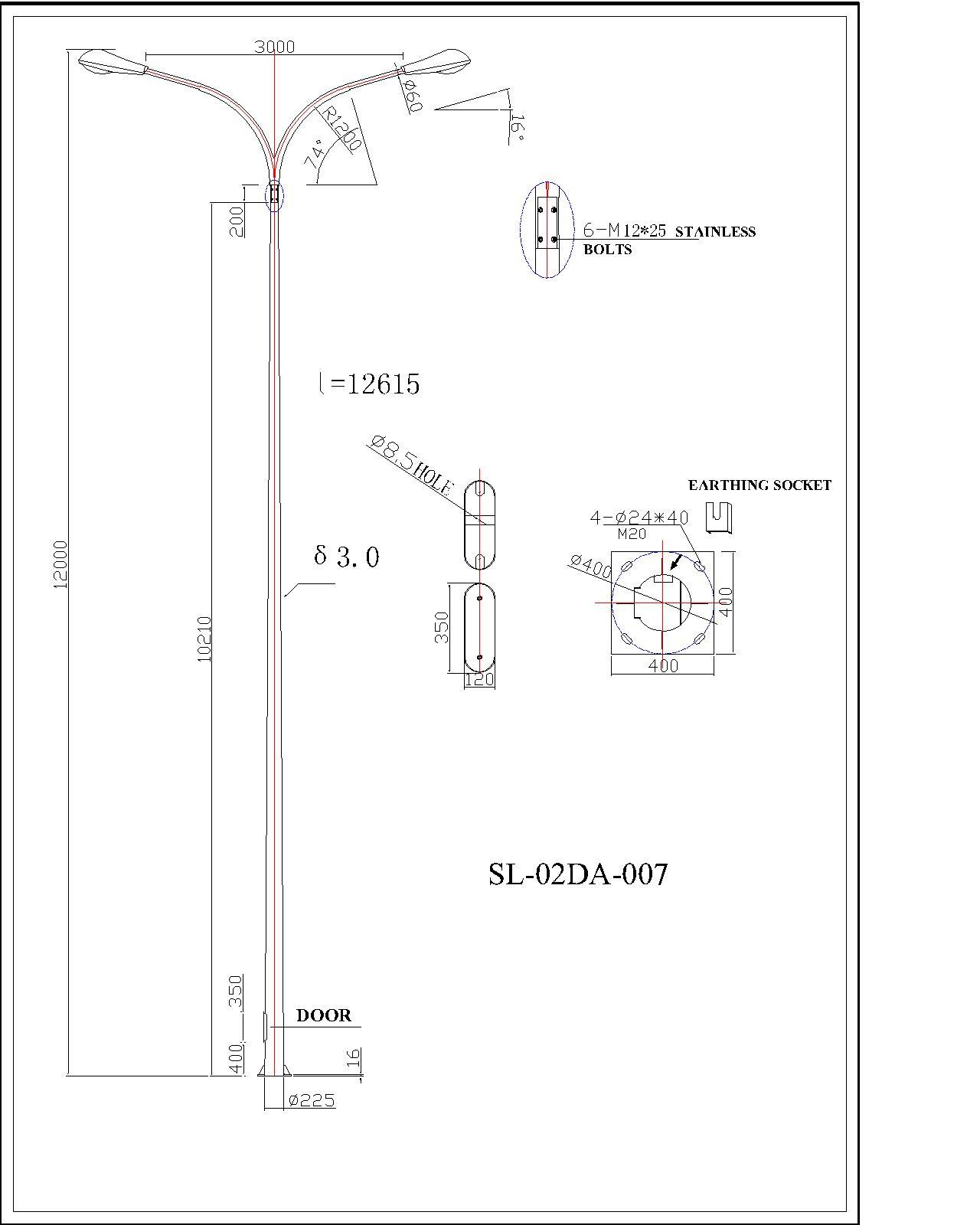 Square Lighting Galvanized Lighting Pole
