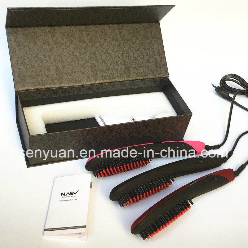 OEM Professional Anion Hair Straightener Comb Nasv-300 Hair Straightener with LCD Electric Ceramic Irons Hair Straightener Brush