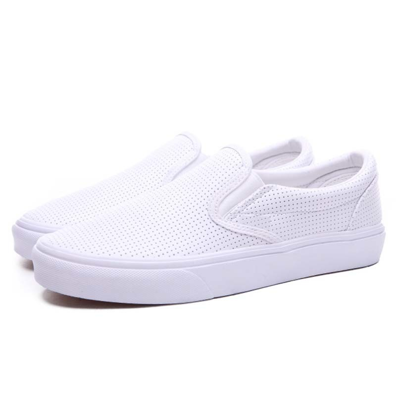 Vintage Style Plain White Leather Breathable Casual Sneakers Footwear Shoes