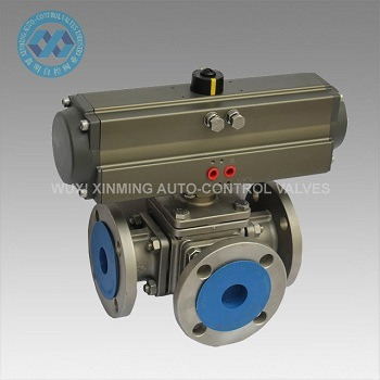 Pneumatic Actuator Three Way Sanitary Ball Valve