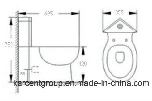Two Piece Ceramic Toilet Ce Washdown Water Closet Wc 1011