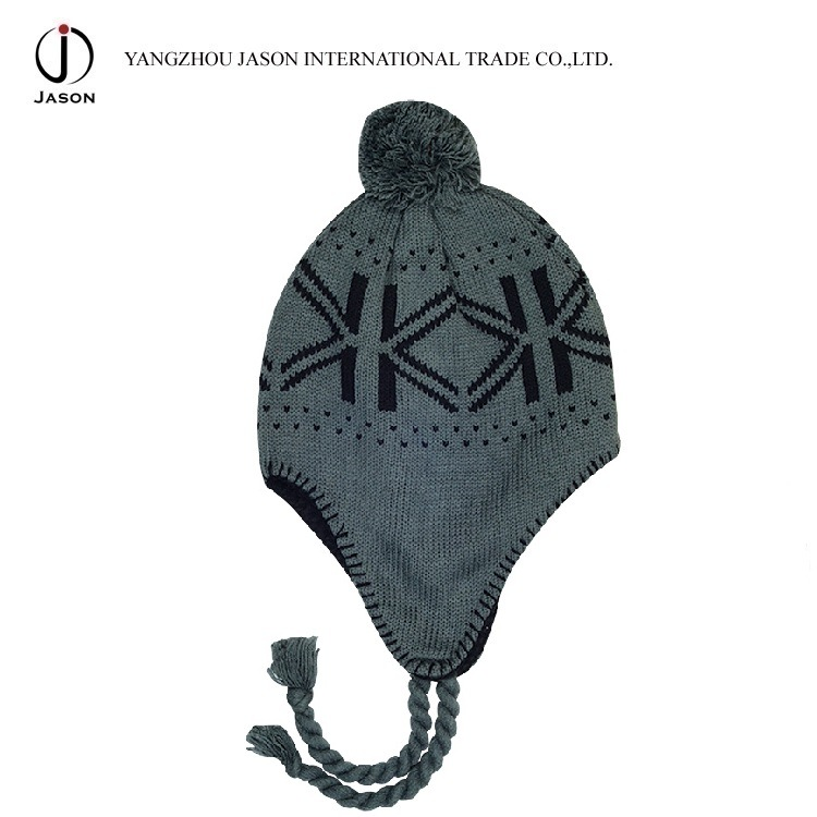 Winter Ear Flap Kitted Toque Warm Acrylic Bobble Hat