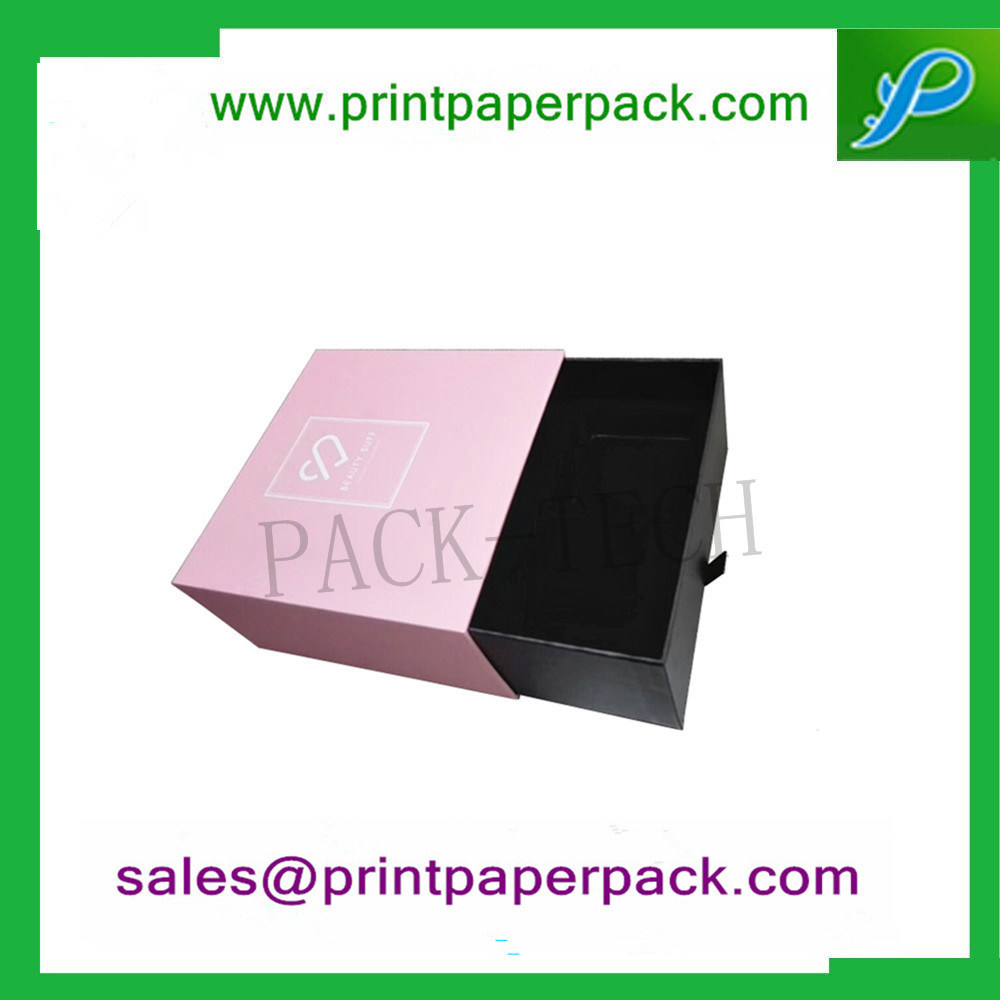 Custom Fancy Human Hair Jewelry Cardboard Box Perfume Box Cosmetic Paper Packing Box Candy Gift Packaging Box with PVC Flocking Tray