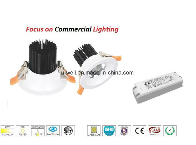10W COB White Aluminum Dimmable Warm White LED Downlight