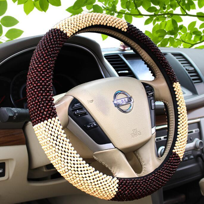 Cool Luxurious Wood Bead Car Steering Wheel Cover Sleeve