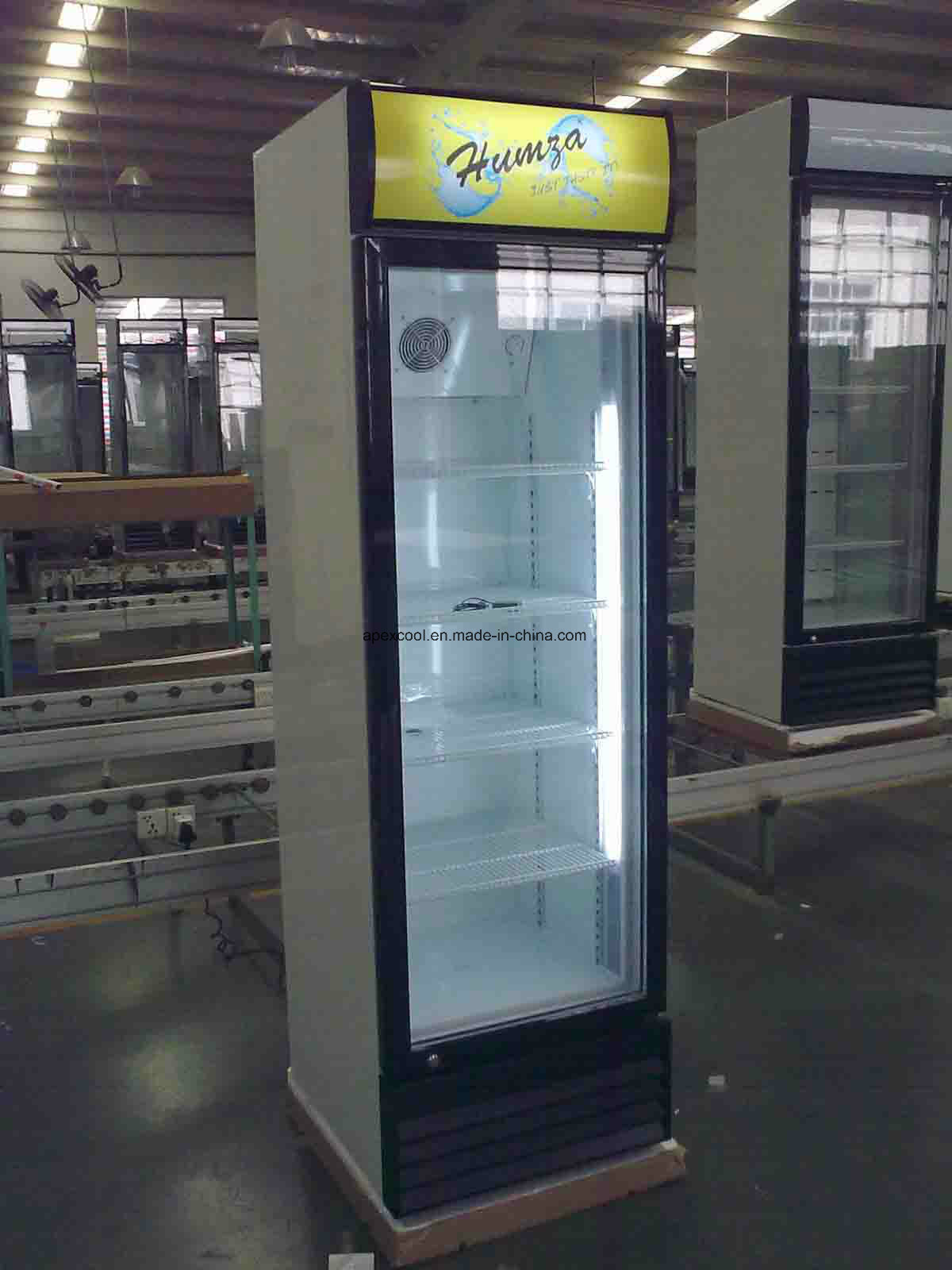 360L Ce Approved Glass Single Door Fridge with Wheels