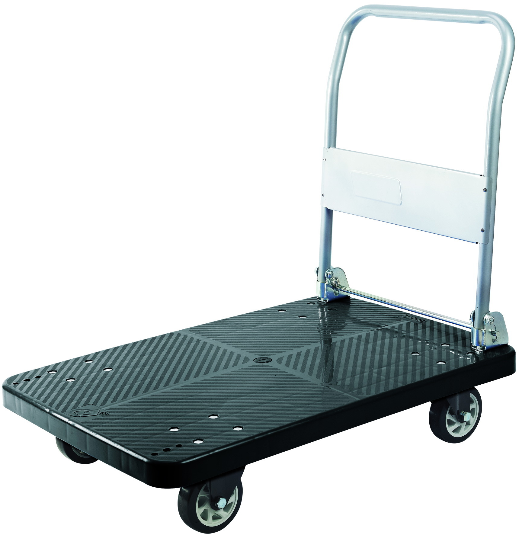 300kg Black Plastic Platform Hand Truck Foldable Noiseless Trolley