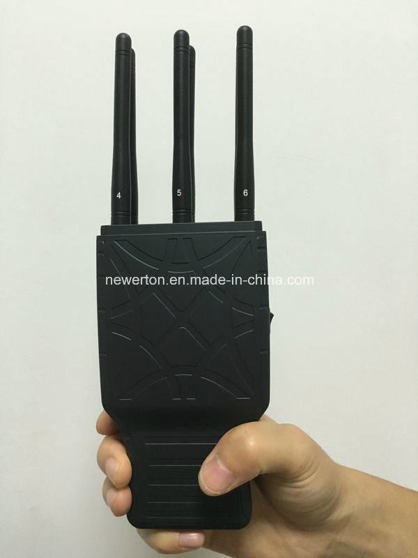 2016 Latest 6 Antenna Portable Cellphone Jammer Wireless GPS WiFi Signal Jammer with Nylon Case