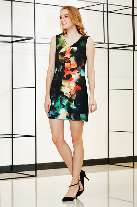 Sleeveless V Neck Ponte Shift Dress with Digital Placement Print (DR6103-797)