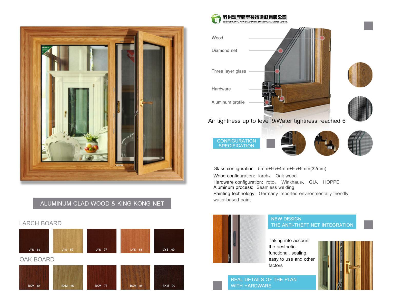 Aluminum Sliding Windows and Door/Hurricane Proof Solid Wood Case Window