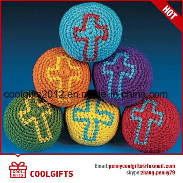 Wholesale Cotton Thread Knitted Kick Ball Custom Footbag Hacky Sack with Logo Printing