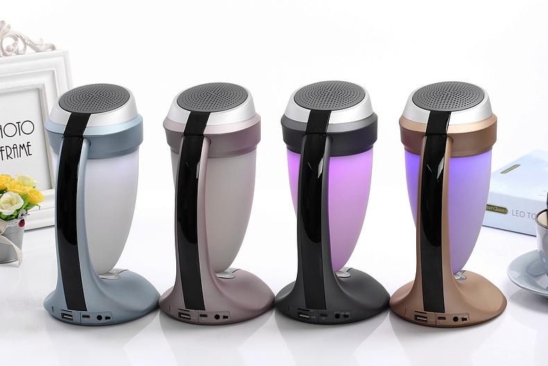 Daniu HiFi Cup Desk Lamp Bluetooth Speaker Ds-7609 Support FM Radio USB/TF Card LED Colorful Mood Lights Hands-Free Mic Bullet Subwoofer