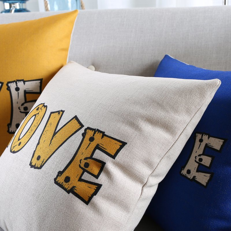 Discount Cotton Linen Decorative Throw Pillow Covers for Chair