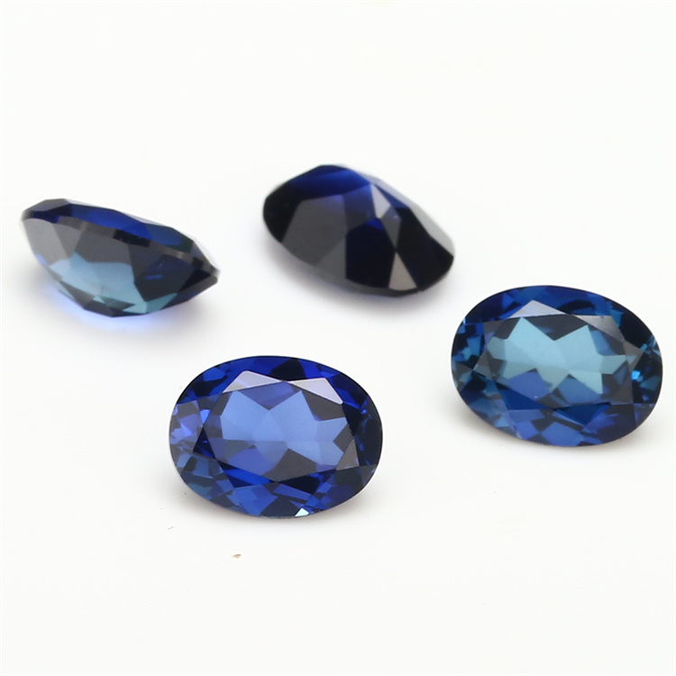 Corundum 6*6mm Trillion Cut 34# Blue Synthetic Ruby Gemstone Beads for Jewelry Making