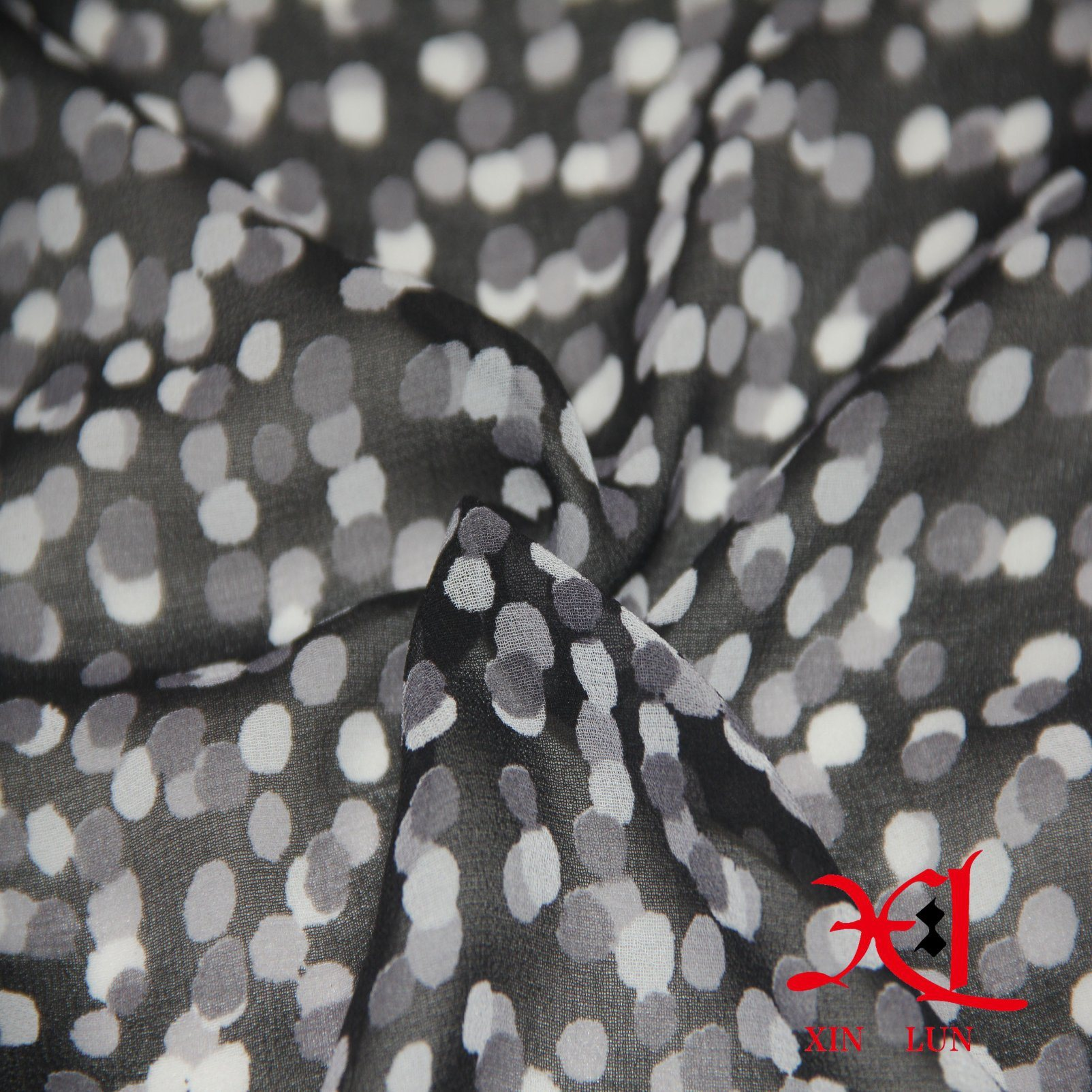100% Polyester Stretch Satin Chiffon DOT Print Fabric