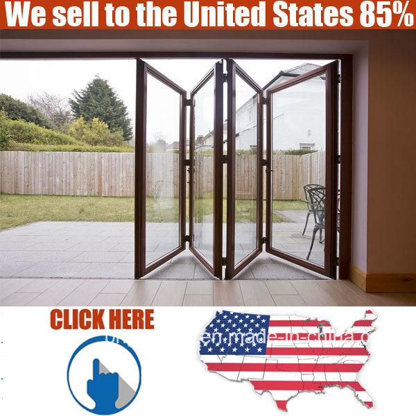 Exterior Strong Double Glazing Aluminum Bi Folding Door