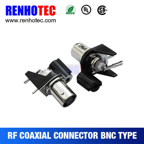 R/a BNC Jack Black Electrical Female Gender PCB Mount BNC Single Port Pin Connector